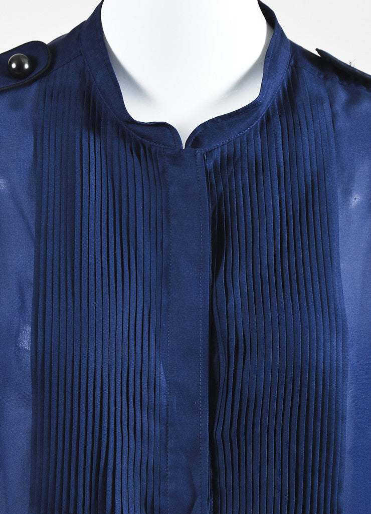 "Blue and Black Isabel Marant Silk Plisse Front Long Sleeve ""Sophia"" Blouse Detail"