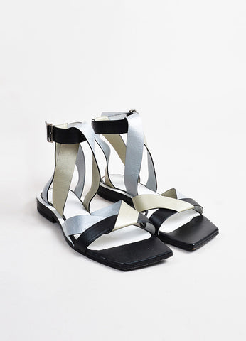 Jil Sander Gold, Silver, and Black Leather Cross Wrap Strap Flat Sandals frontview