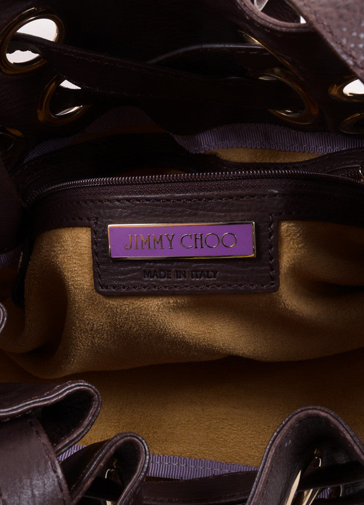 "Jimmy Choo Chocolate Brown Leather ""Ramona"" Belted Grommet Hobo Bag Brand"