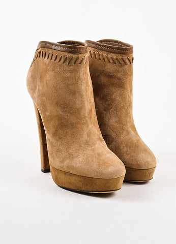 Jimmy Choo Tan Suede Brown Leather Trim Platform Heeled Ankle Booties Frontview