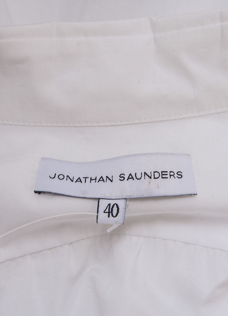 "Jonathan Saunders New With Tags White and Red Poplin Floral Print ""Eliza"" Shirt Brand"