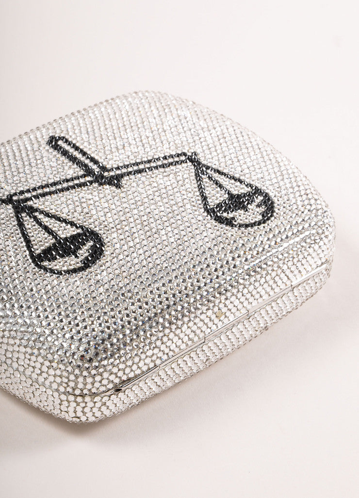 "Judith Leiber New With Tags Silver Toned Rhinestone ""Libra"" Chain Strap Clutch Bag Bottom View"