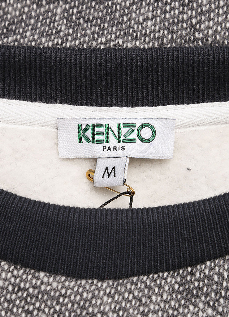 Kenzo New With Tags Grey and White Knit Wool Blend Short Sleeve Sweatshirt Brand
