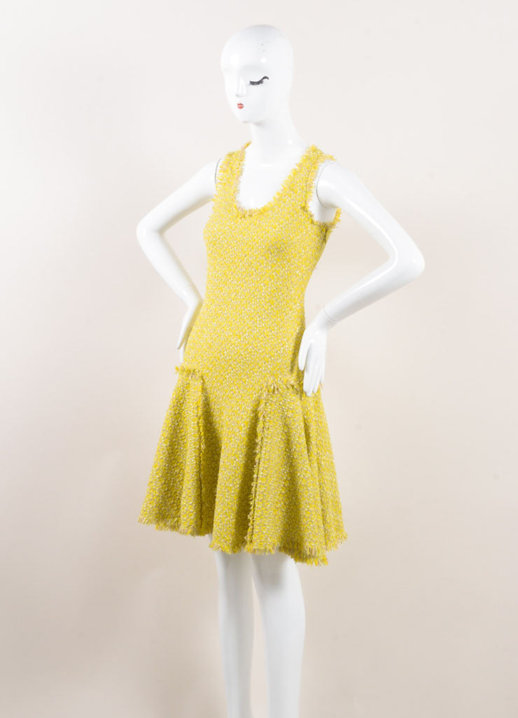 Lanvin Yellow and Green Woven Knit Frayed Trim Pleated Sleeveless Dress Sideview