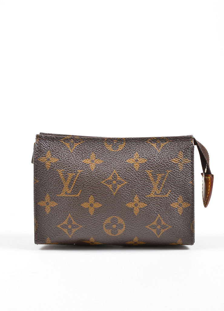 "Louis Vuitton Brown Coated Canvas Monogram ""Toiletry Pouch 15"" Bag Frontview"