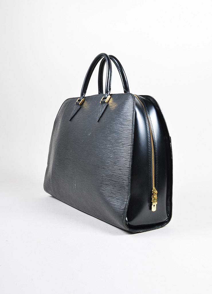 "Louis Vuitton Black Epi Leather ""Sorbonne"" Satchel Briefcase Bag Sideview"