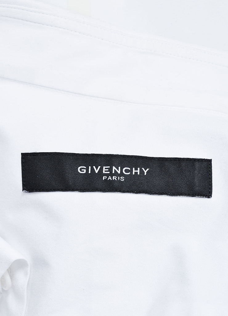 Men's Givenchy White Poplin Mesh Basketball Panel Button Up Shirt  Brand