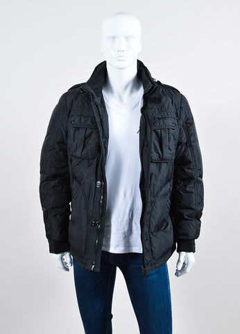 Men's Moncler Black Down Winter Coat Frontview
