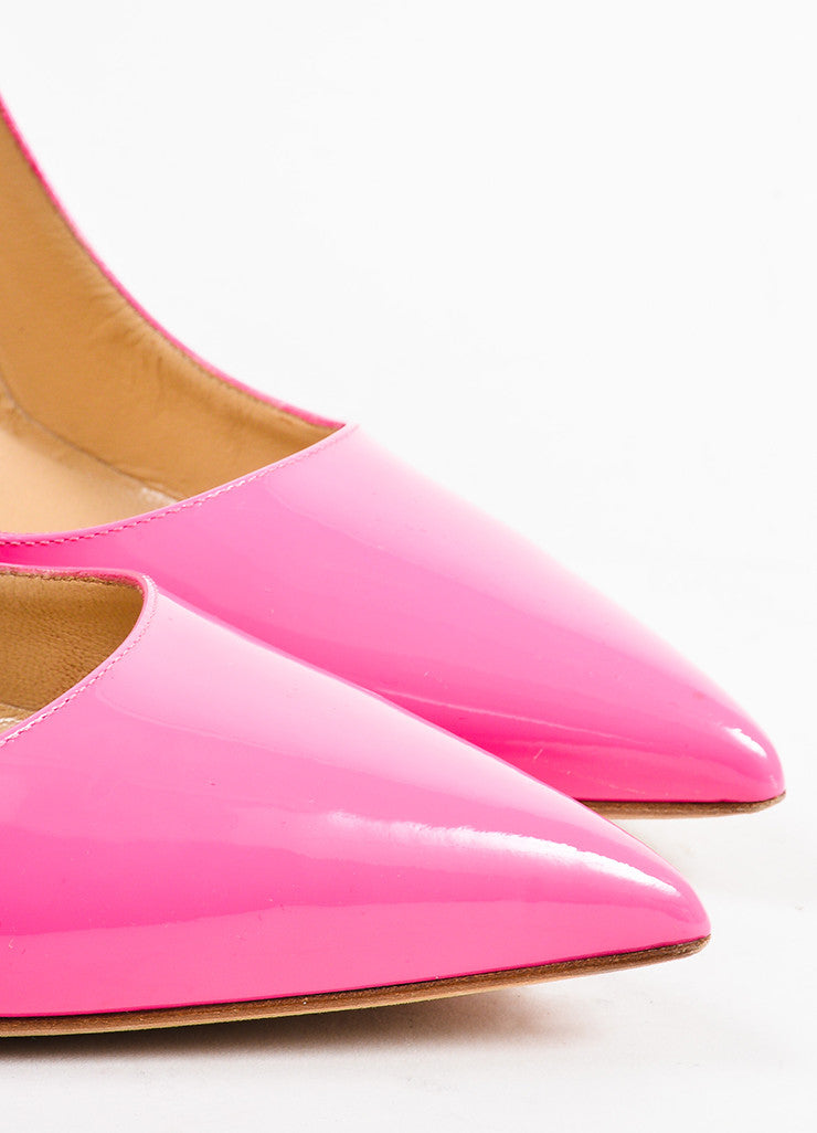 "Manolo Blahnik Hot Pink Patent Leather Pointed Toe ""BB"" Pumps Detail"
