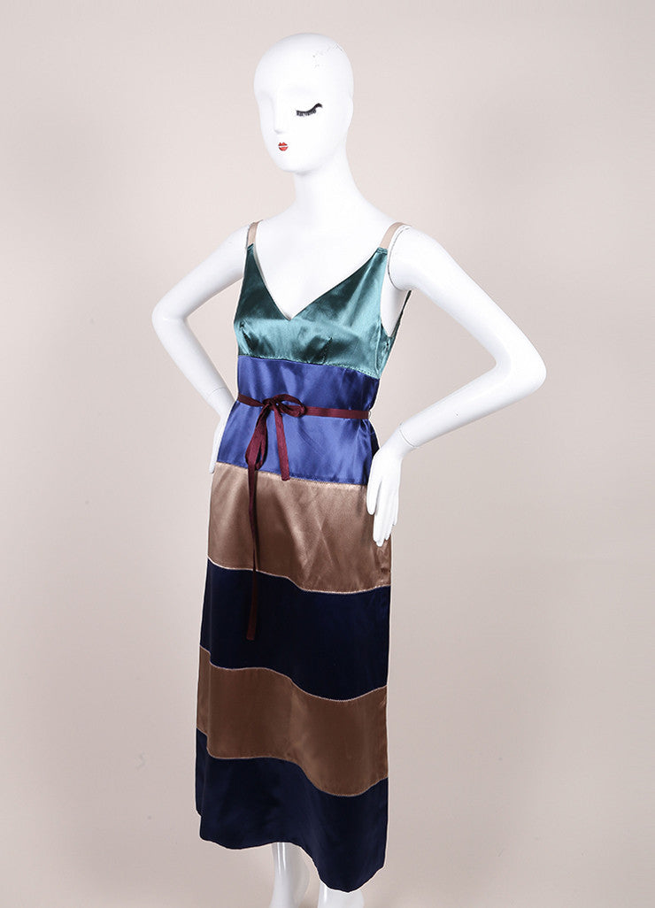 Marc Jacobs New With Tags Green, Blue, and Taupe Striped Satin Sleeveless A-Line Dress Sideview