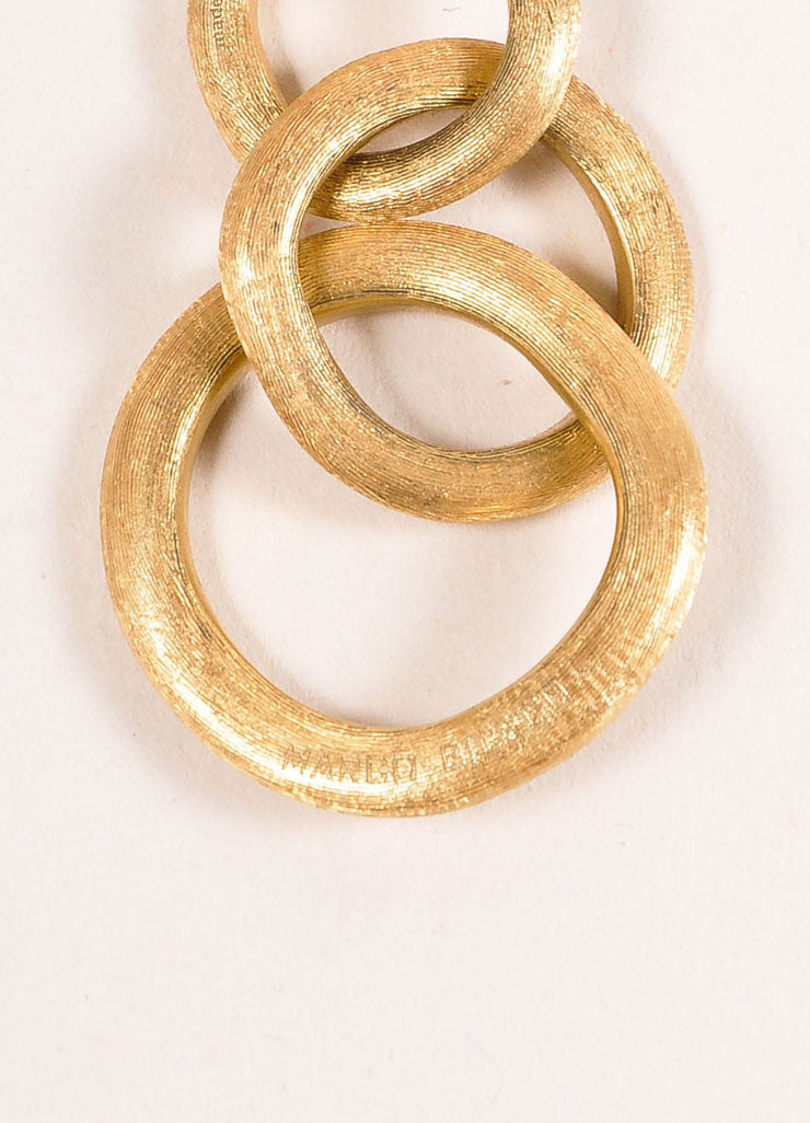 Marco Bicego 18 KT Gold Three Link Drop Earrings Detail