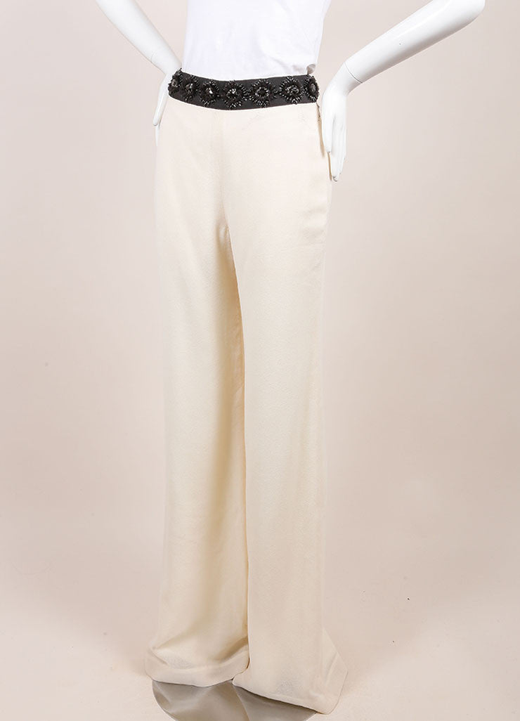 Naeem Khan New With Tags Ivory Wide Leg Wool Evening Pants Sideview