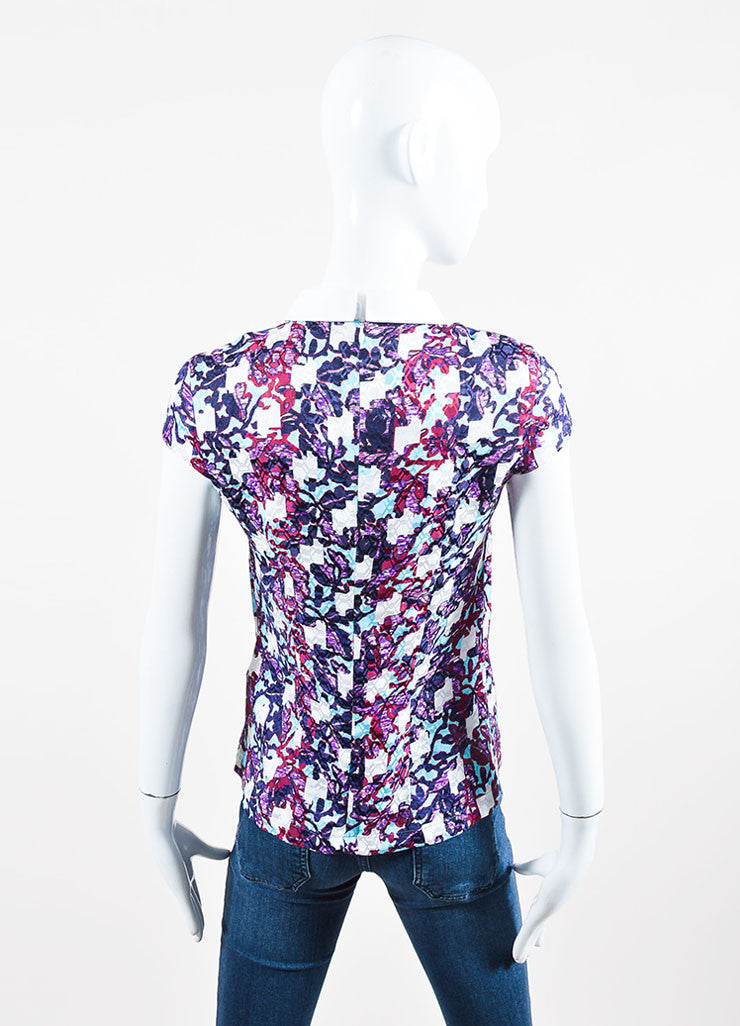 "White, Purple, and Teal Peter Pilotto Silk Printed ""Nina"" Cap Sleeve Top Backview"
