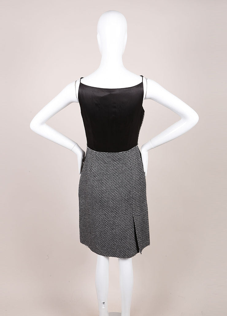 Prada Black and White Wool and Mohair Tweed Flower Embroidered Sleeveless Dress Backview