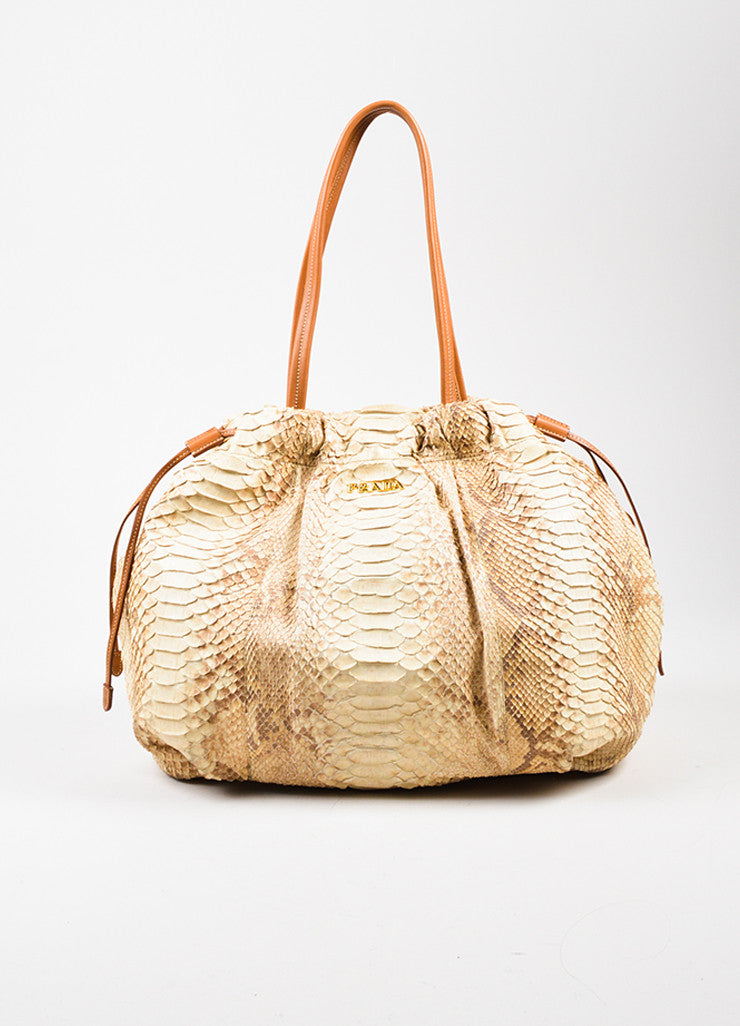 Cream and Taupe Prada Python Leather Shopping Tote Bag Frontview