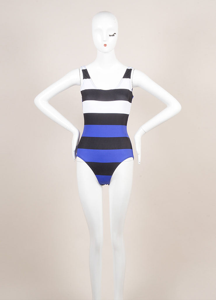 Pret a Surf New With Tags Blue, Black, and White Stripe One Piece Scoop Neck Swimsuit Frontview