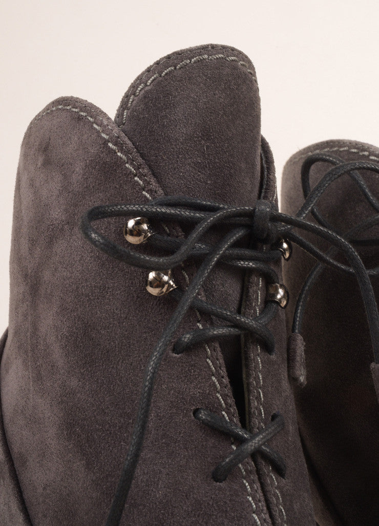 New In Box Grey Suede Lace Up Ankle Boots