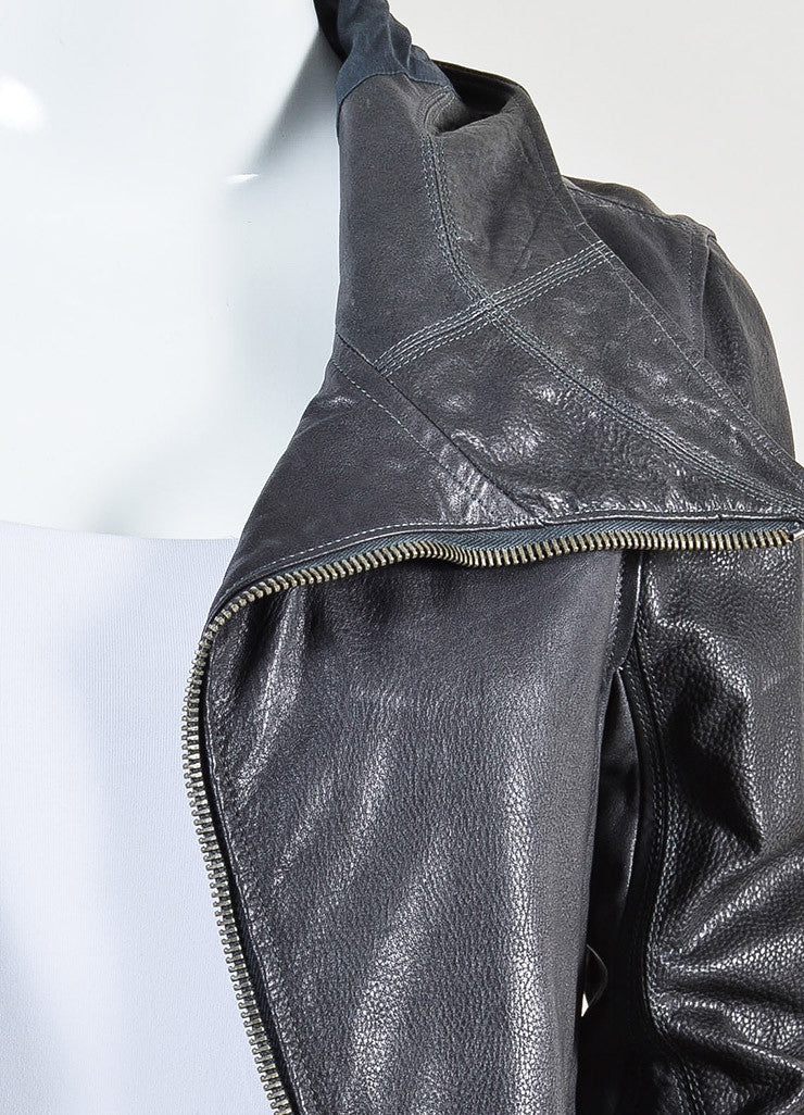 Rick Owens Grey Leather Hooded Moto Jacket Detail