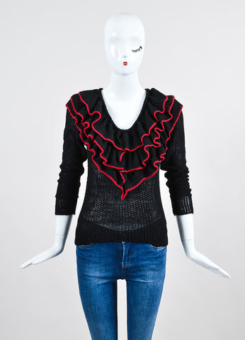 Black and Red Rodarte Wool Knit Ruffle Sweater Top  Frontview