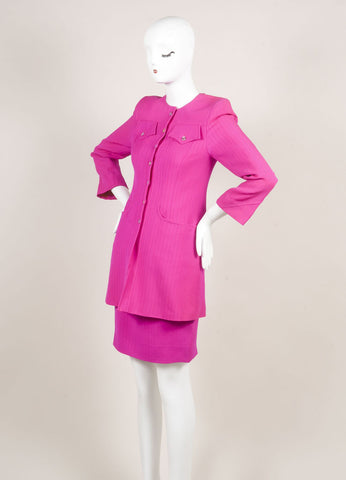 Bazar by Christian Lacroix Hot Pink Wool Jacket and Skirt Suit Sideview