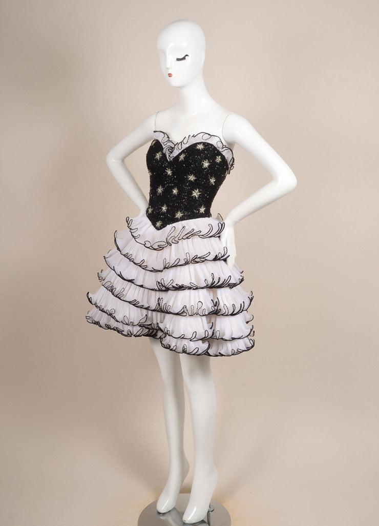 Bob Mackie Black and Cream Beaded Pleated Ruffle Strapless Cocktail Dress Sideview