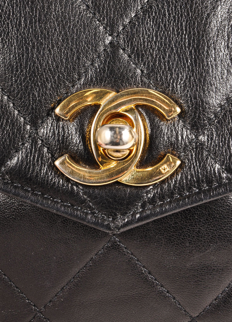 "Chanel Black and Gold Toned ""CC"" Turnlock Quilted Leather Belt Bag Detail 3"