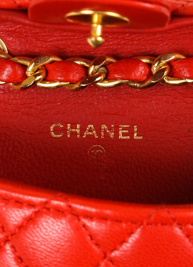 Chanel Red Mini Lambskin Flap Bag Belt Brand