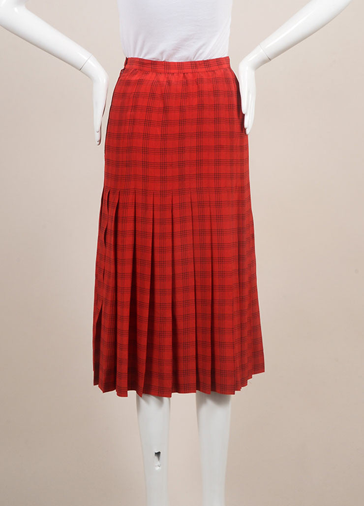 Chanel Red Plaid Pleated Midi Skirt Backview