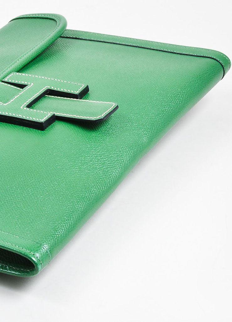 "Green Hermes Pebbled Leather ""Jige"" 'H' Envelope Clutch Bag Bottom View"