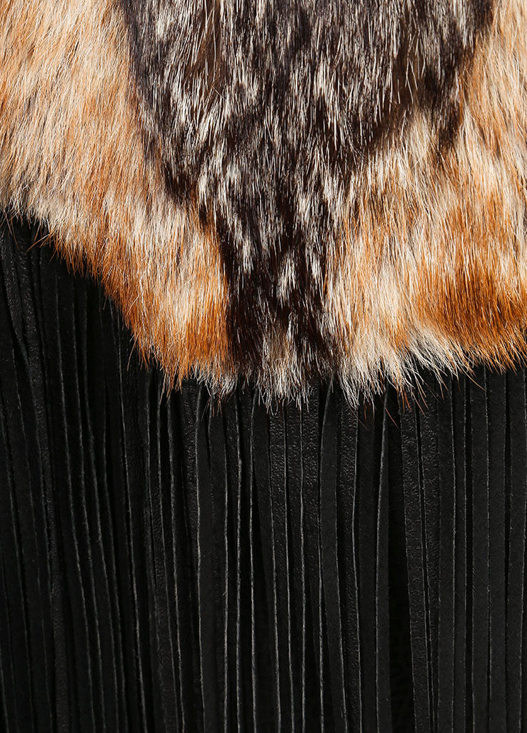 Marshall Fields Brown and Black Fur and leather Fringe Trim Mid Length Coat Detail