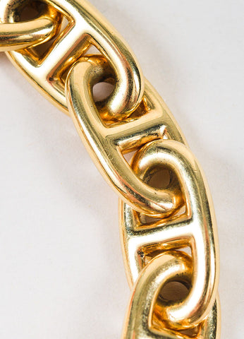 "Hermes 18K Yellow Gold ""Chaîne d'Ancre"" Link Chain Toggle Bracelet Detail"