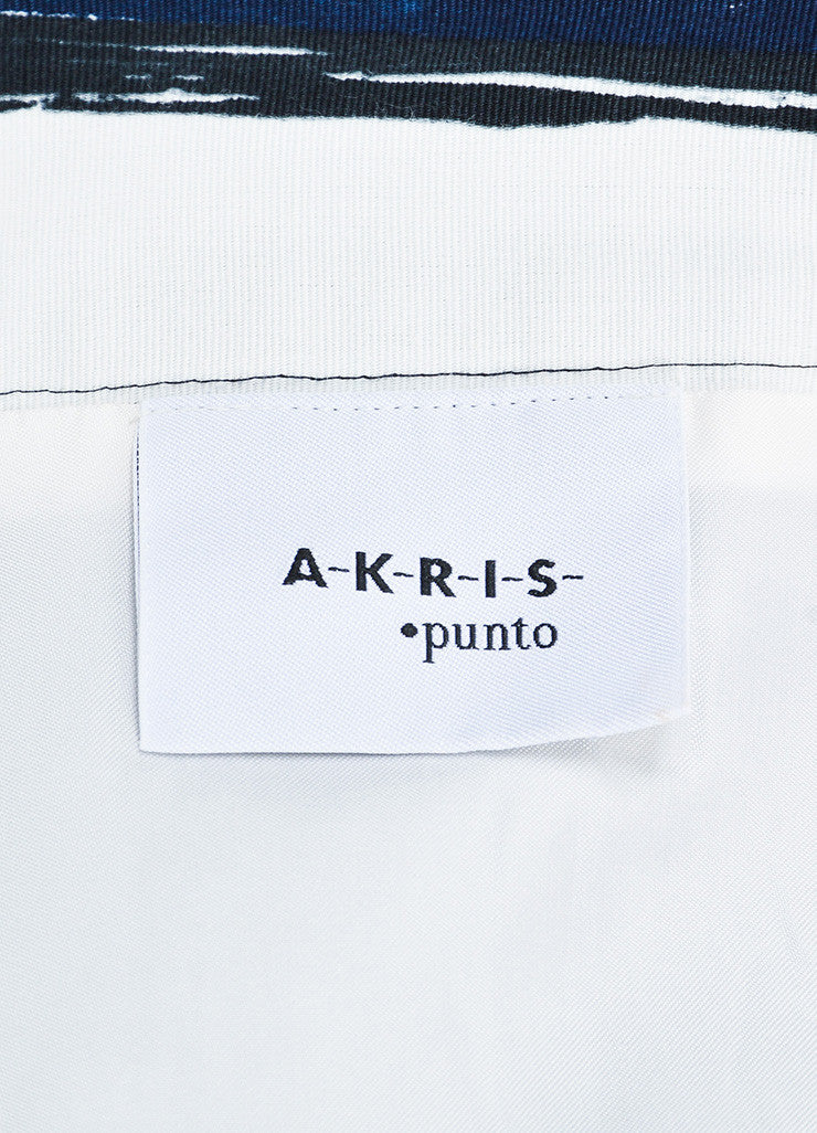 Akris Punto Navy Blue, White, and Brown Printed Pleated A-Line Skirt Brand