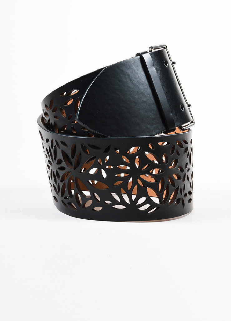Alaia Black Leather Floral Laser Cut Out Wide Belt Sideview