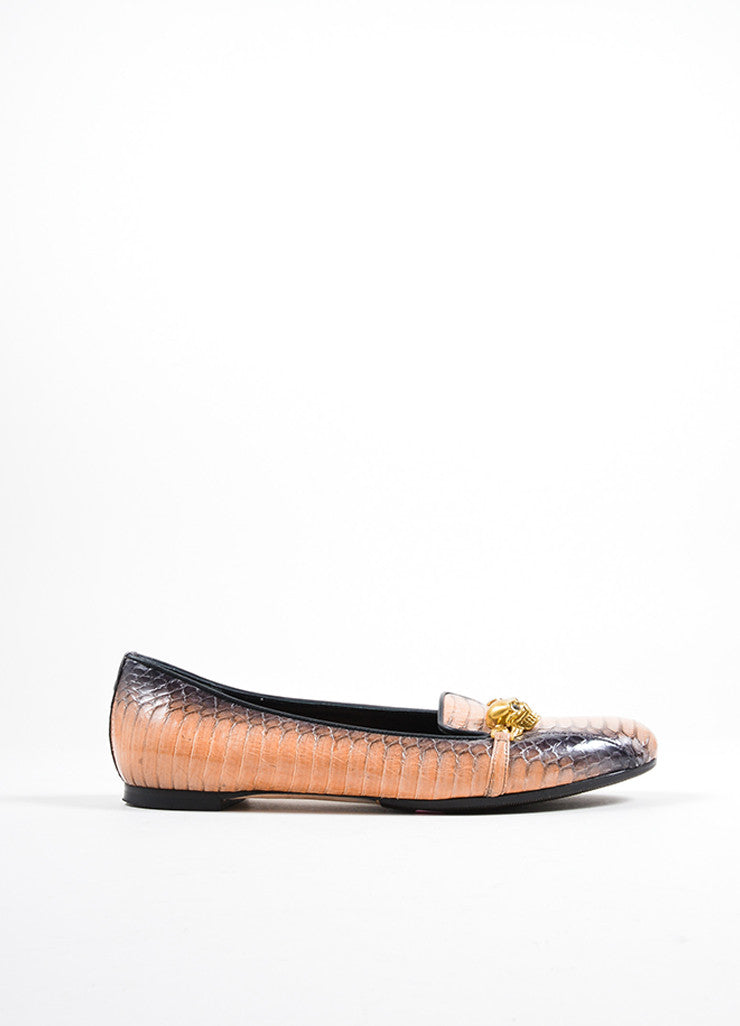 Alexander McQueen Black and Tan Snakeskin Gold Toned Skull Chain Loafers Sideview