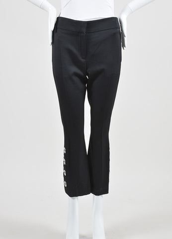 Alexander McQueen Black and Silver Toned Grommet Cropped Pants  Frontview