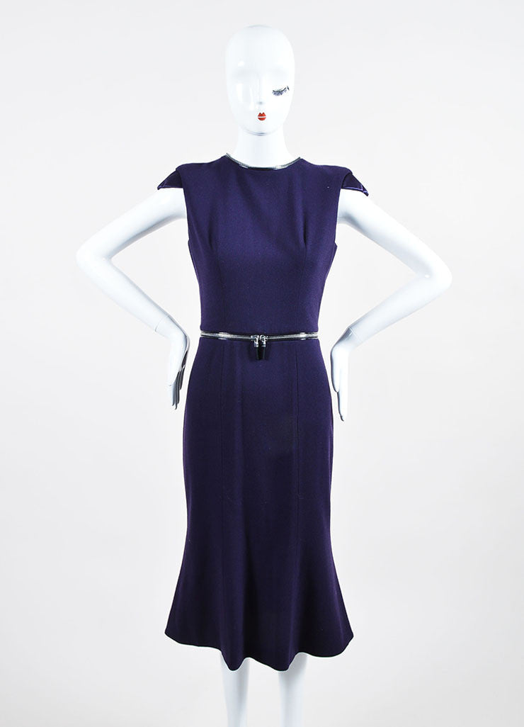 Purple Alexander McQueen Wool Zipper Cap Sleeve Dress Frontview