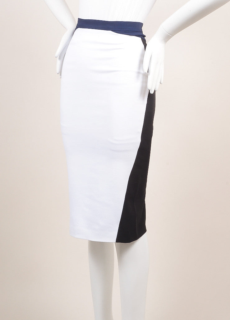 Altuzarra New With Tags White, Black, and Navy Colorblock Bodycon Skirt Sideview