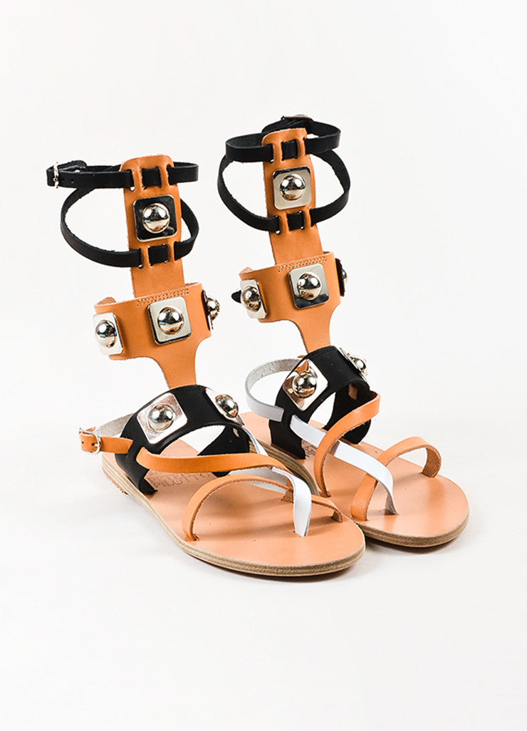 Ancient Greek Sandals x Peter Pilotto Tan and Black Gladiator Sandals Frontview