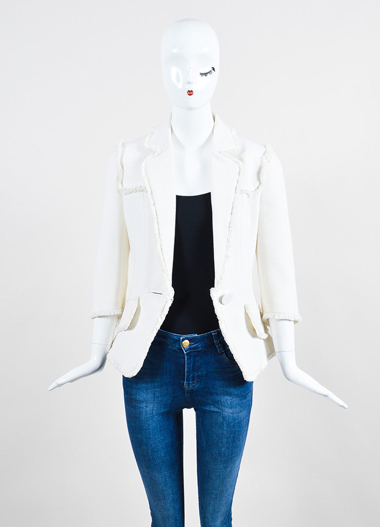 Cream Andrew Gn Wool Fringe Cropped Sleeve Blazer Jacket Frontview
