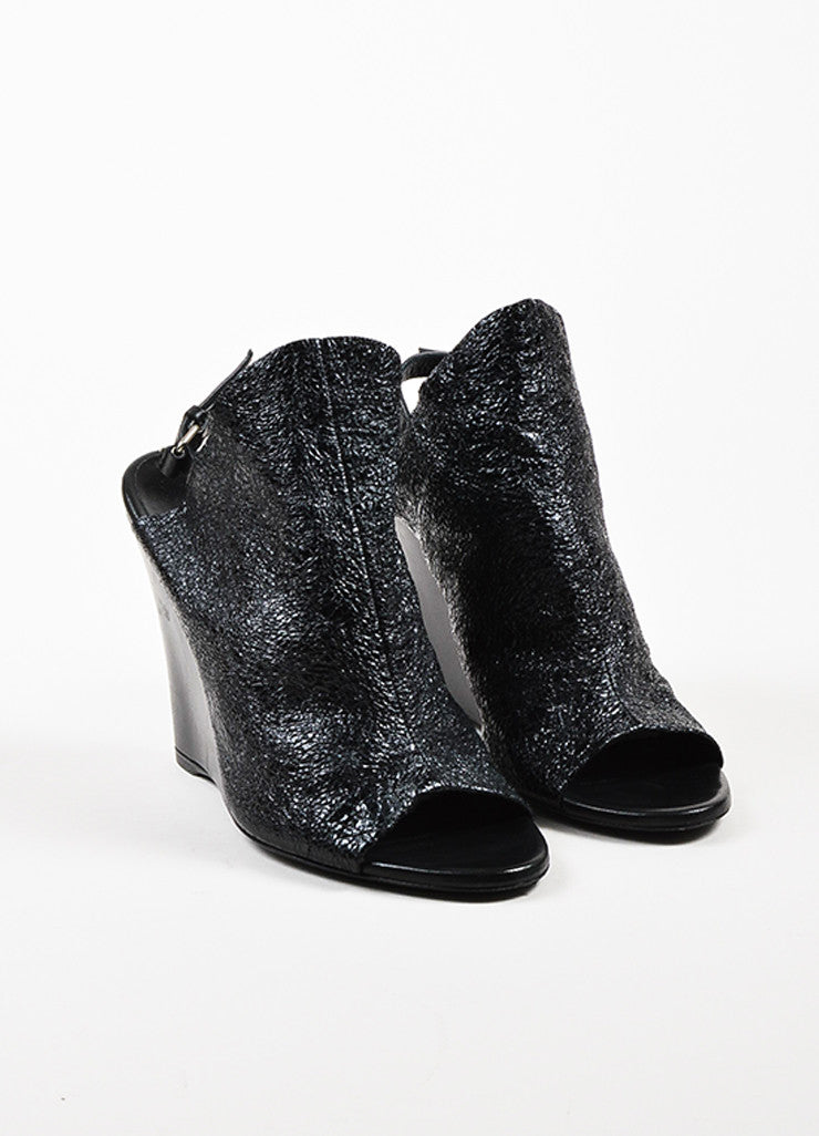 Balenciaga Black Crinkled Patent Leather Open Toe Wedges Frontview
