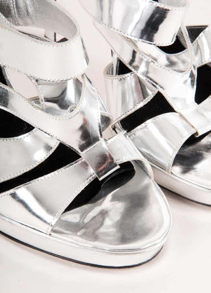Barbara Bui Silver Metallic Strappy Leather High Heel Sandals Detail