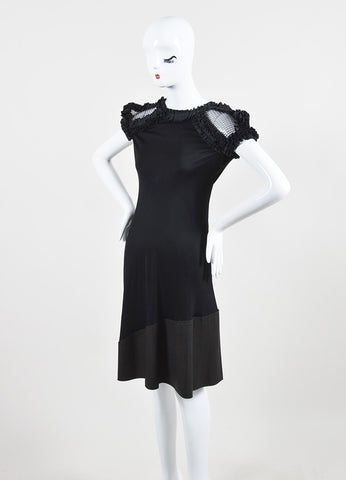 Bottega Veneta Black Silky Ruffle Mesh Chain Mail Leather Short Sleeve Dress sideview