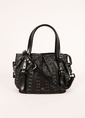 Burberry Black Grain Leather Grommet Staple Link Handbag Frontview