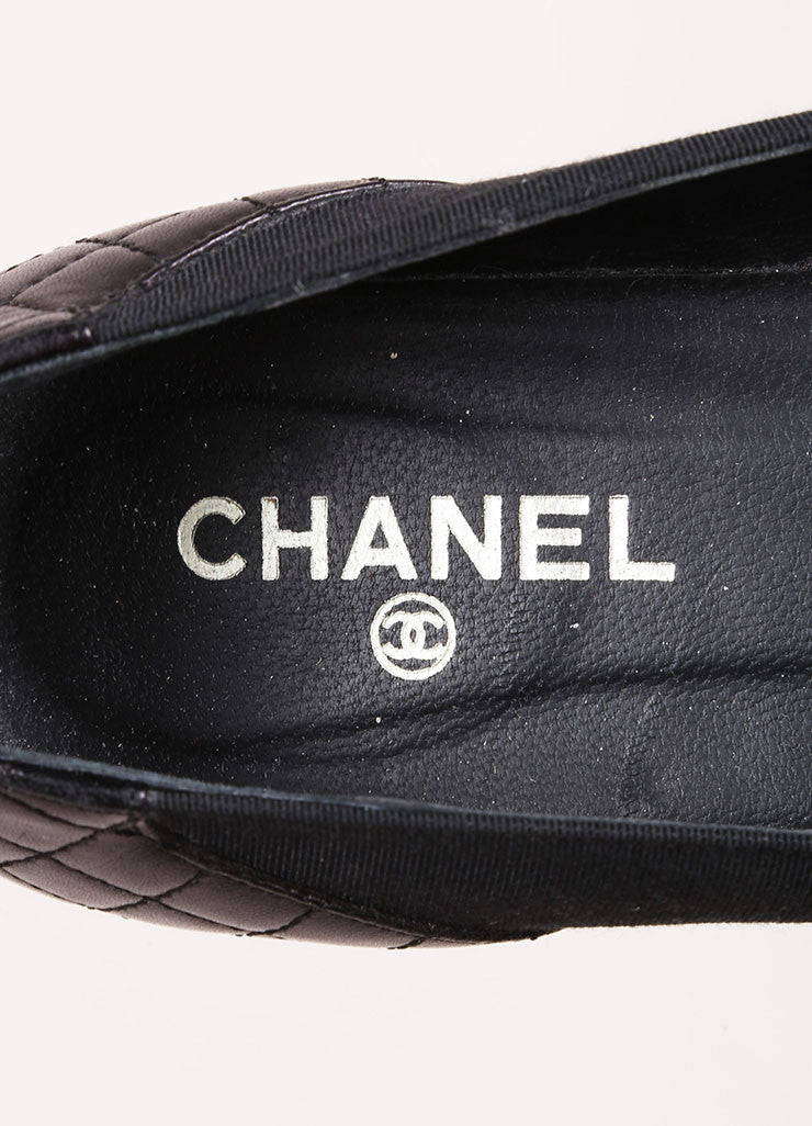 "Chanel Black and Gold Toned Chain ""CC"" Detail Flats Brand"