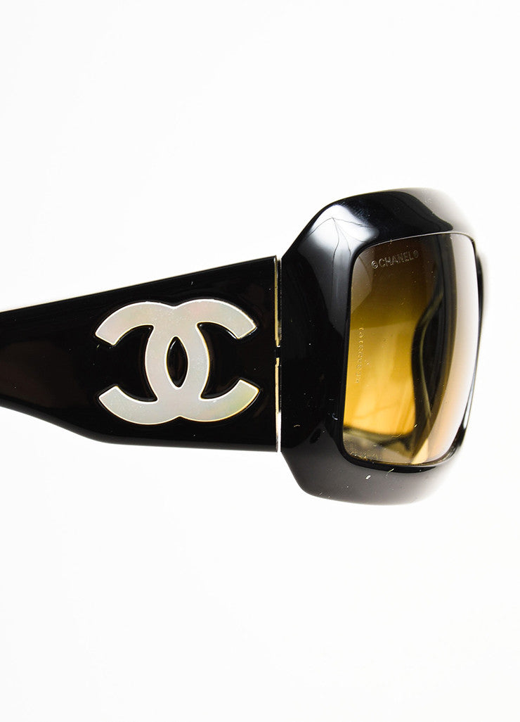 "Chanel Black and Mother of Pearl 'CC' Logo Rectangle Frame ""5076 H"" Sunglasses Detail"