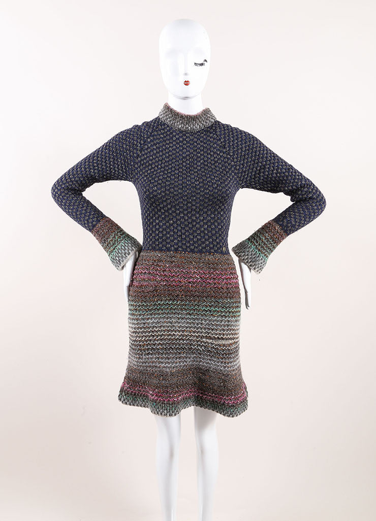 Chanel Multicolor Cotton, Wool, and Silk Metallic Knit Sweater Dress Frontview