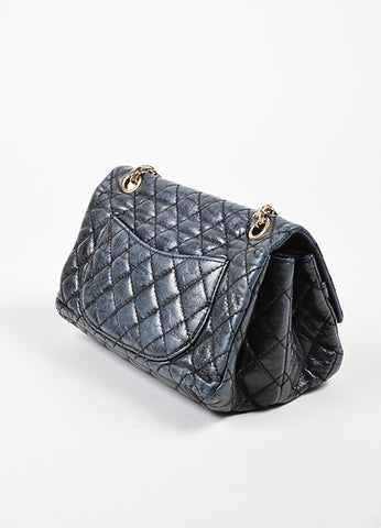 Dark Grey Chanel Leather Metallic Quilted Chain Reissue Accordion Flap Bag Sideview