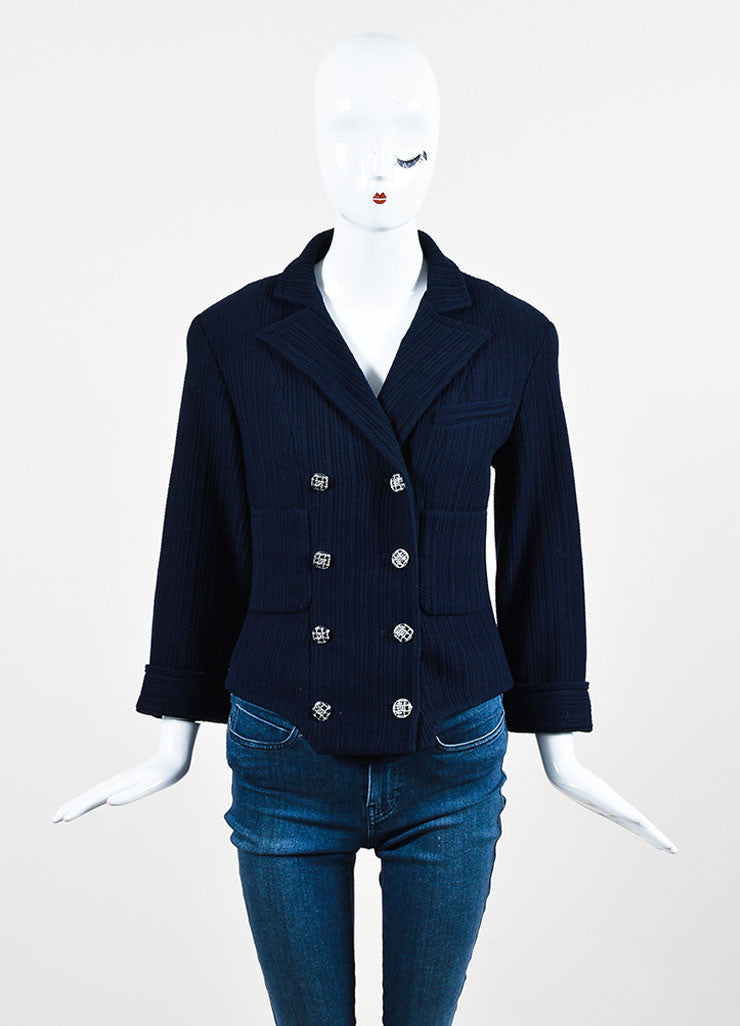 Chanel Navy Ribbed Peak Lapel Three Quarter Sleeve Double Breasted Blazer Frontview 2