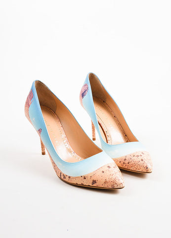 "Charlotte Olympia Blue Leather Canyon ""Panoramic Desiree"" Pumps Frontview"