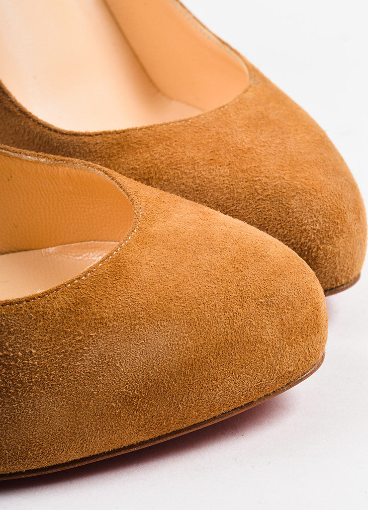 "Christian Louboutin Camel Suede ""New Declic 120"" Pumps Detail"